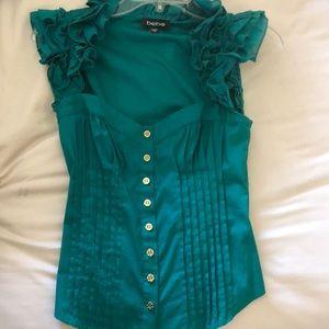 Bebe corsette Top S emerald green NEW NWOT